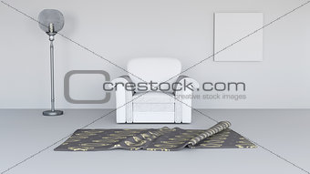 3D lounge interior with blank canvas on wall
