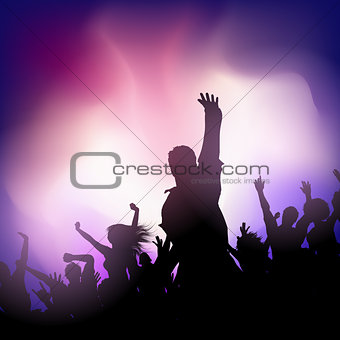 Party audience on an abstract blur background