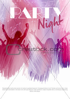 Party flier background with silhouette of an audience on a water