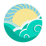 Travel agency vector design template. Sea, Horizon, Sun - Creative Concept icon.