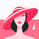 Stylish beautiful model for fashion design. Art deco graphic illustration. Portrait of pretty girl on sea.