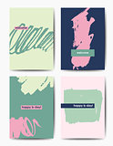 Modern grunge birthday postcards