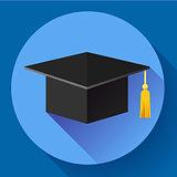 Graduation cap icon. Flat design style.