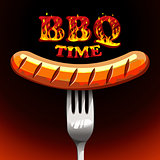 BBQ time - Photorealistic sausage on a fork.