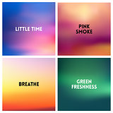 Abstract vector multicolored blurred background set. 4 colors set
