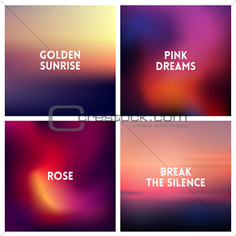 Abstract vector dark pink blurred background set. 4 colors set