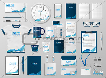 Corporate Branding identity template design. Modern Stationery mockup for shop with modern blue structure. Business style stationery and documentation. Vector illustration