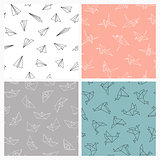 Set of seamless origami patterns. Vector colorful backgrounds
