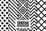 Collection of textile seamless patterns - stylish geometric backgrounds. Black and white texture