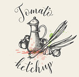 Vintage background with tomato ketchup