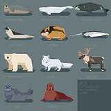 Set of flat geometric animals of Arctic