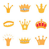 Set of gold crown icons. Vector isolated elements for logo, label, game, hotel, an app design. Royal king, queen, princess crown.