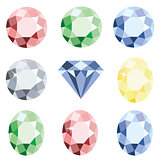 Set of precious stones crystal diamond of different colors