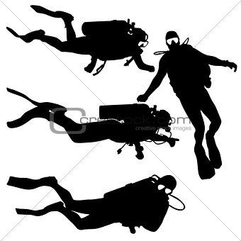 Black set silhouette scuba divers on a white background