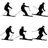Set mountain skier speeding down slope sport silhouette