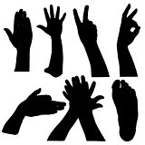 Black set silhouette of hands on white background