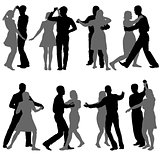 Black set silhouettes Dancing on white background