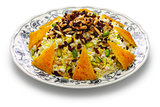 zereshk polo with tahdig, saffron barberry rice with scorched rice