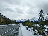 Road in Jasper National Park in WInter