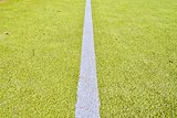 White line on green playing field. Copy space. Sport texture and background