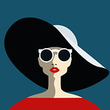 Beautiful young woman with sunglasses and hat, retro style.