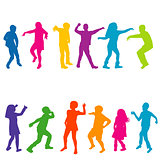Colorful silhouettes of children dancing