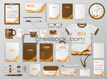 Corporate Branding identity template design. Modern Stationery mockup for shop with modern orange color. Business style stationery and documentation. Vector illustration