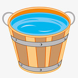 Wooden pail with water