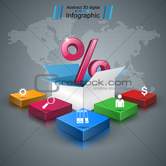 Business infographics. Percent icon.