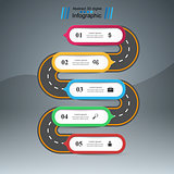 Road 3D digital illustration Infographic. Pencil icon.