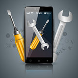 Repairs digital icon. Wrench and screwdriver.