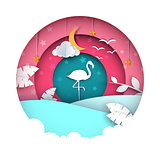 Flamingo illustration. Cartoon paper landscape.