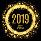2019 Happy New Year glowing gold background.