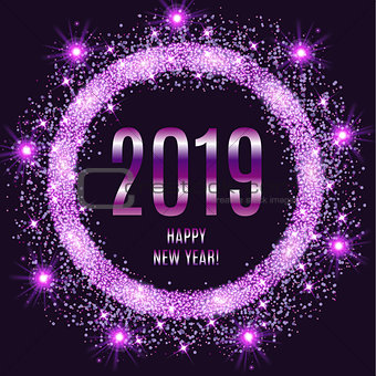 2019 Happy New Year glowing violet background.