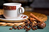 horizontal picture of a beautiful cup of coffee, anise and cinna