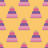 Birthday cake seamless pattern