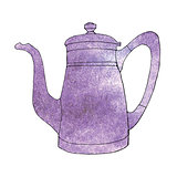 Ultra violet watercolor hand drawn coffeeapot