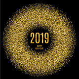2019 Happy New Year glowing gold background