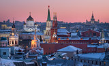 Moscow Russia City View in the Evening