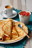 Breakfast with pancakes and coffee