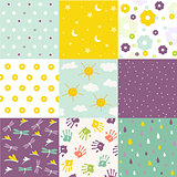 Baby shower set of vector seamless backgrounds