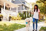 Girl Walking Dog Along Suburban Street