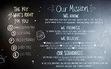 Blackboard Displaying Brand Values In Coffee Shop