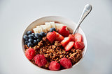 Bowl Of Granola And Fresh Fruit For Healthy Breakfast