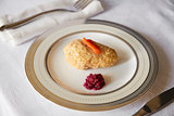 Jewish passover appetiser of gefilte fish and horseradish