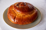 Round challah bread for rosh hashanah, Jewish New Year