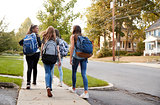 Four young teen girls walking to school together, back view