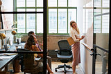Woman at whiteboard in team meeting, seen through open door