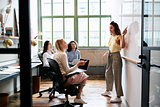 Woman pointing at whiteboard in a meeting with female team
