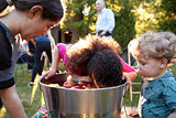 Friends watch pre-teen girl apple bobbing at backyard party
